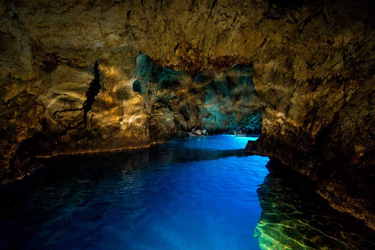 Empty blue cave-photo with flash