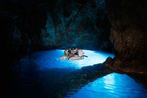 Dinghy inside the Blue Cave