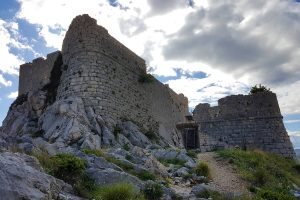 View of the massive walls of Omis fortress