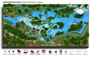 Skradinski buk, tour map