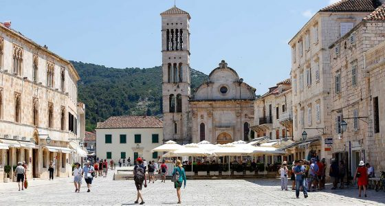 Cathedral on main square in Hvar town