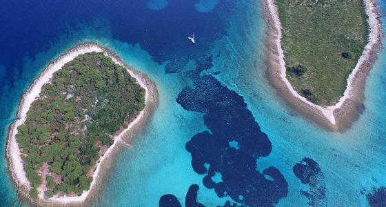view of Krknjasi islands forming blue lagoon croatia