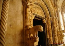 Sculpture on-Entrance-to-Cathedral-Trogir