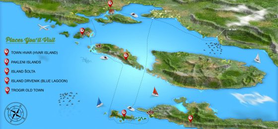 blue-lagoon-hvar-and-trogir-tour-map-from-omis